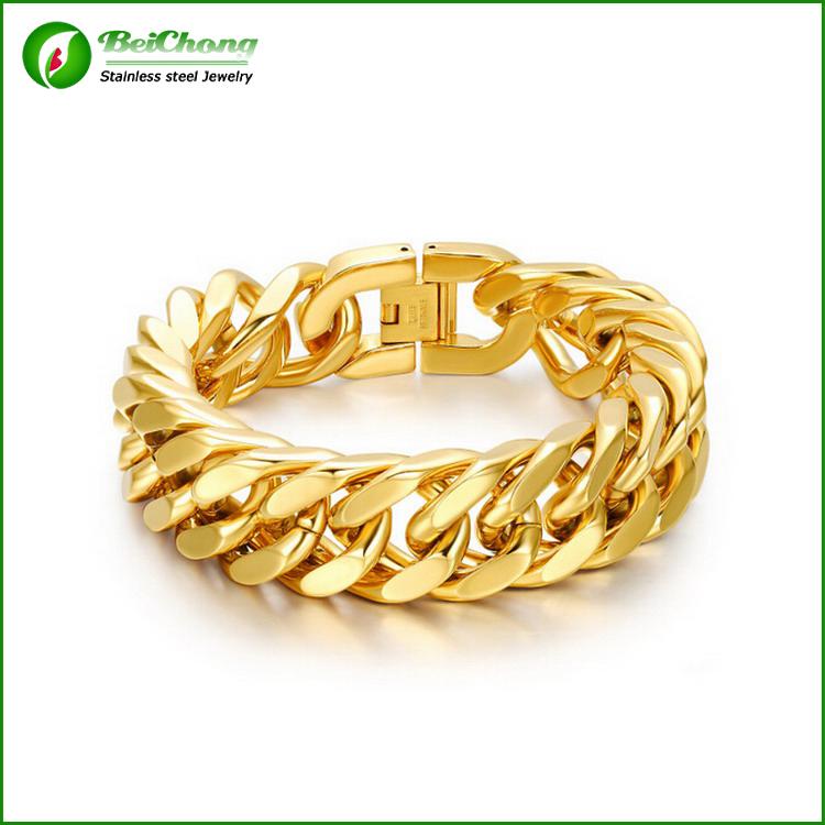 Latest New Design Mens18k Gold Stainless Steel bike chain bracelets