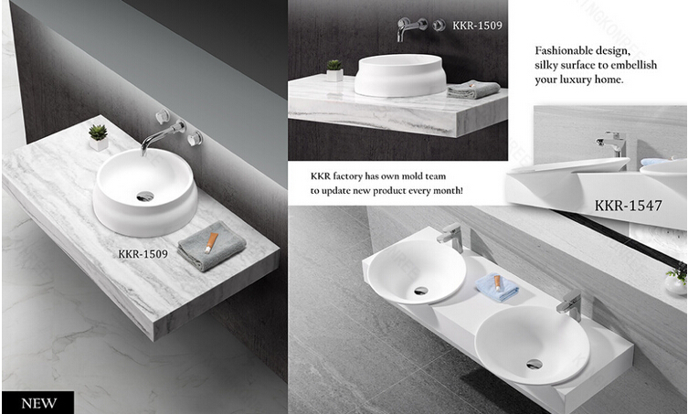 commercial solid surface one piece bathroom sink