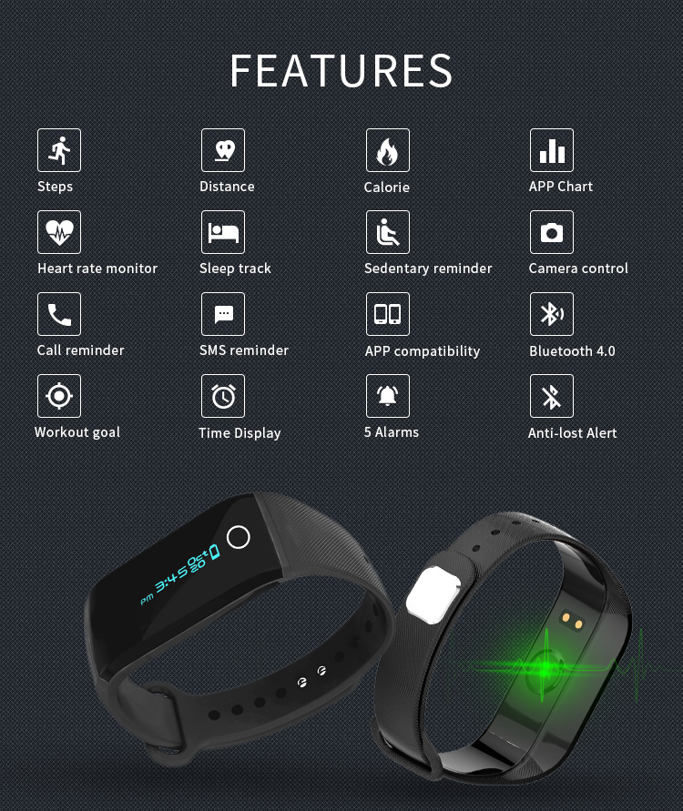 Bluetooth optical heart rate Fitness Bracelet