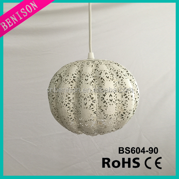 new modern white / rusty metal hanging lampshade hollow carved pumpkin decoration pendant lamp lighting item no.BS604