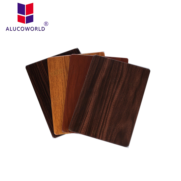 Alucoworld stainless steel solid wood wall decorative aluminum composite panel