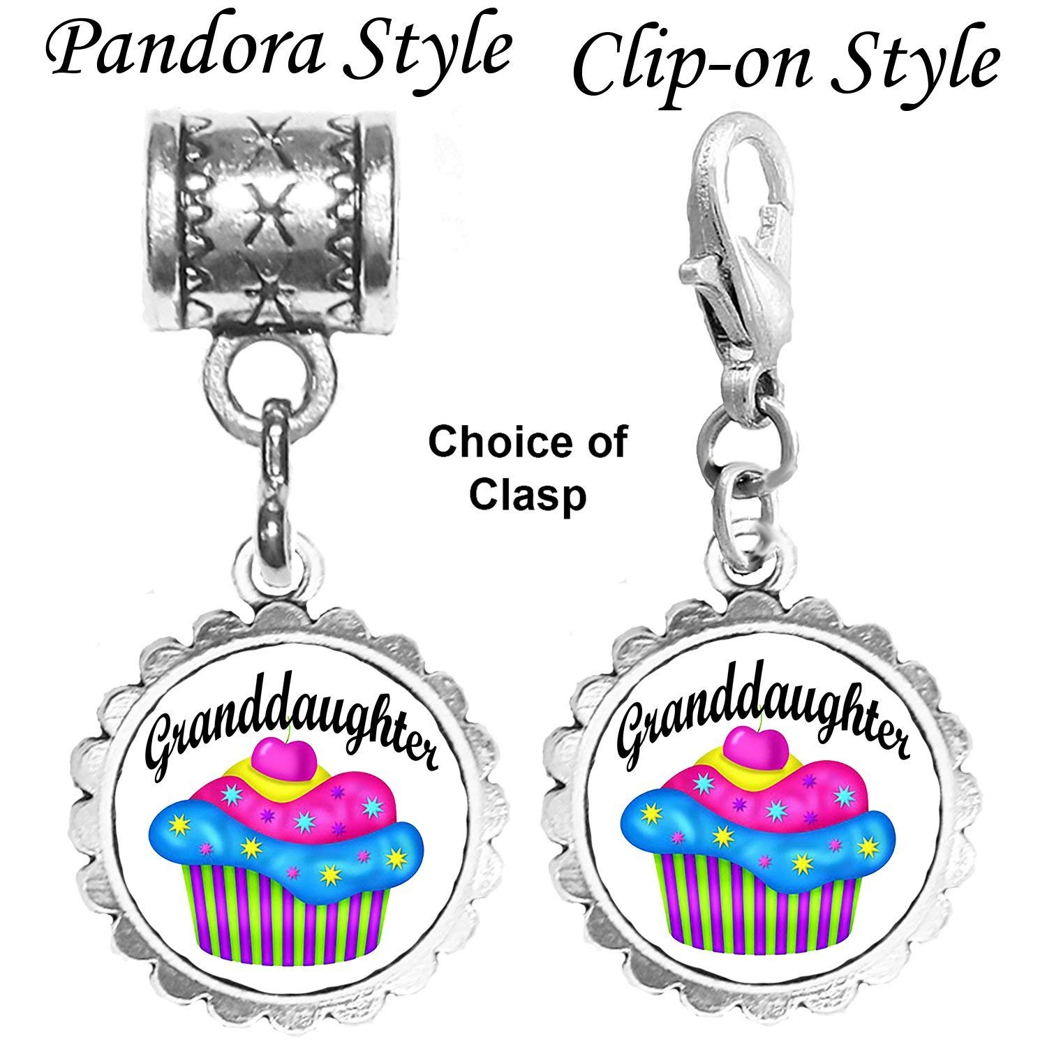 Silver granddaughter cupcake charm OR cupcake charm by Mossy Cabin. This charm will fit a large hole style snake chain bracelet. Also available with a clip-on clasp for chain bracelets