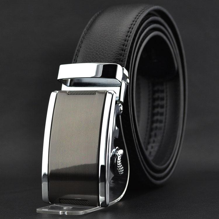 Mens Belt Black Automatic Buckle Alloy Genuine Leather Strap Adjustable Ratchet