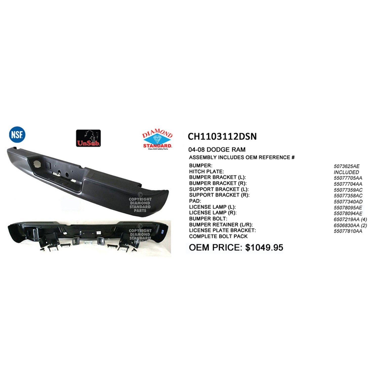 Crash Parts Plus Crash Parts Plus NSF CH1103112 Black Rear Bumper Assembly for 04-06 Dodge Ram