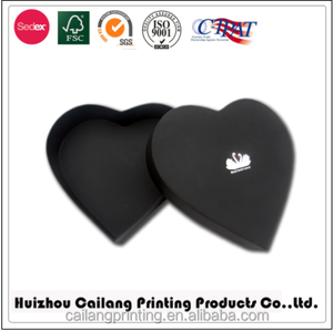 Customized embossing/stamping logo/oem design High quality luxury black Heart Shape Jewelry/chocolate Gift Paper Packaging Box