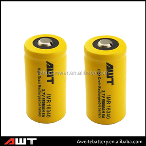 Cnina wholesale AWT 16340 battery 550mah 8A 3.7v maxell er6c 3.6v lithium battery for fazed box mdo vapor