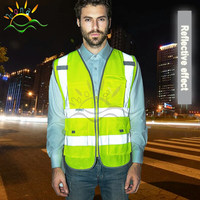 6 colors 100%polyester Fabric reflective safety vest with pockets