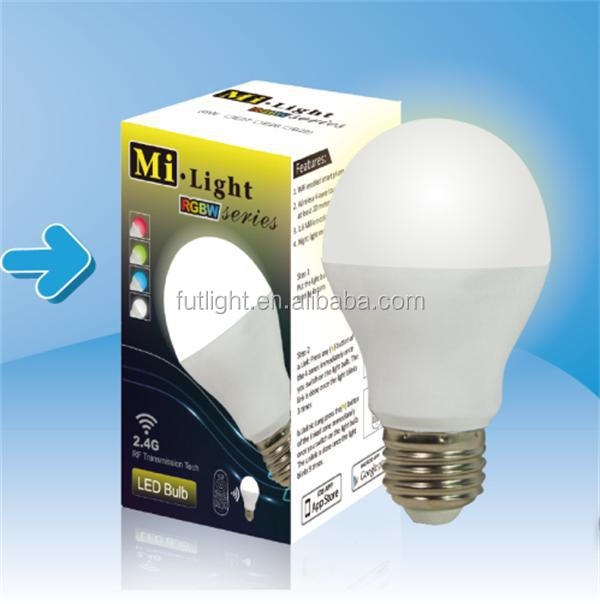 China Mi.Light indoor anti-interference RGB+CCT 6w e27 low power consumption RF remote control wifi Smart led light bulb