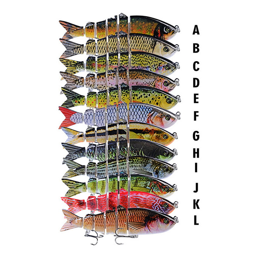wholesale jointed fishing lure Multi-section fish minnow quality professional bait 12cm 18.5g pesca swim bait tackle, 12 colors available