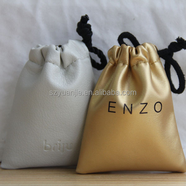 custom drawstring leather dustbag with satin lining wholesale