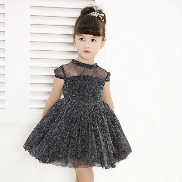 7b2f6245130d 2016 New Summer Little Girl See Through Formal Dress Children Party  Sparkles Dress Kids Evening Dress Red Black Apricot