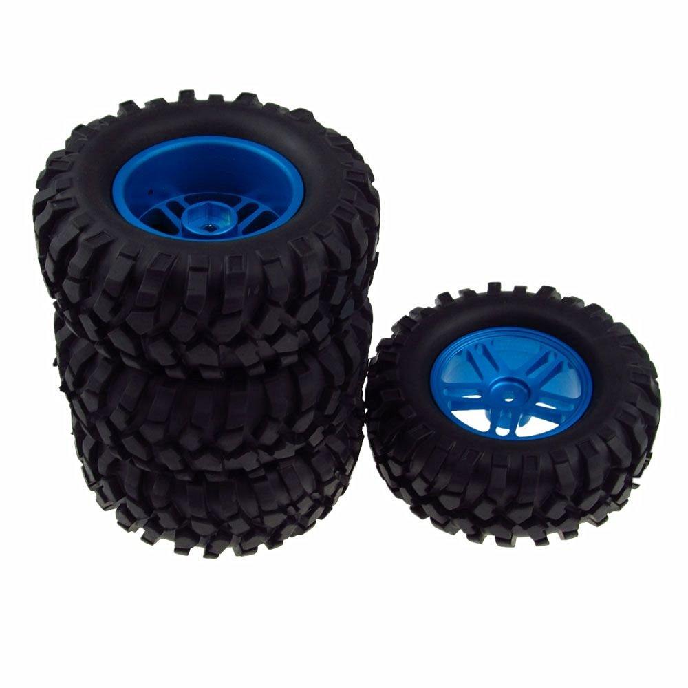 JIUWU 4x RC Car Wheel Rim&Tyre Tires Aluminum Double 5 Spoke for 1/10 Rock Crawler Blue