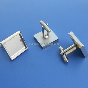 Custom Promotional Gift Square Blank Cufflinks Parts for Men's Shirts
