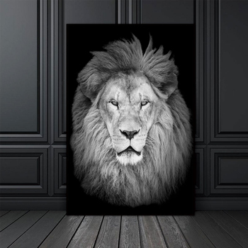 Modular Canvas Wall Art Print Poster Black White Animal Picture Lion Painting