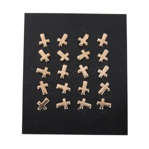 Stainless Steel Cross Stud Earring rose gold color plated 6.5x8x12.5mm 10Pairs/Lot Sold By Lot
