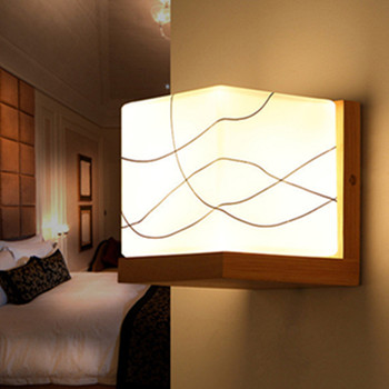 Led Wall Mounted Light For Hotel Modern Pure Wood Bedside E27 Engineering Lights