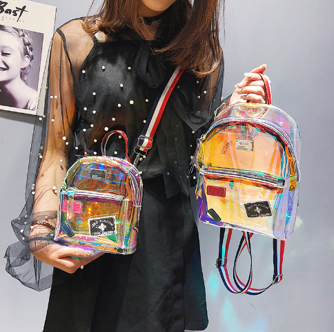 Mini korean function hologram backpack,girls holographic shiny clear pvc backpack