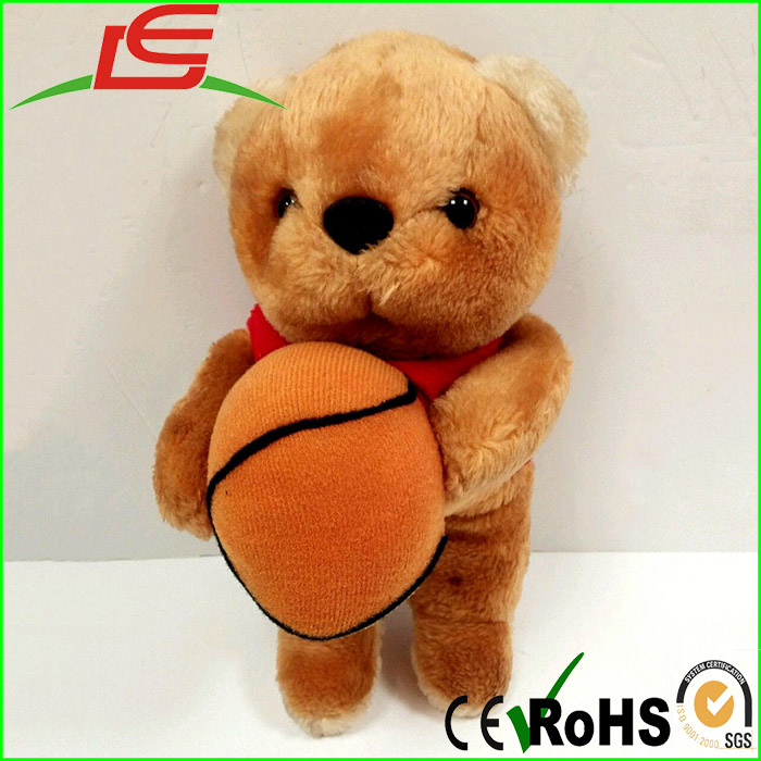 Wholesale 12 Plush Stuffed Animal Teddy Bear Holding Basket Ball
