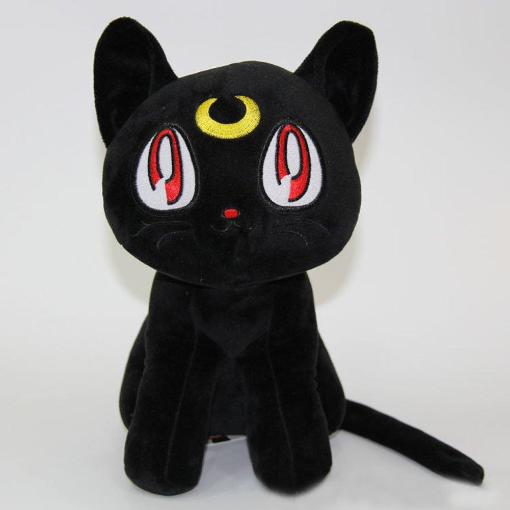 "Sailor Moon 12"" Pretty Soldier Luna Cat Stuffed Plush Toy Dolls,Black"