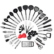 Amazon best selling nylon kitchen utensil set 42 pc stainless steel nonstick cooking utensils set