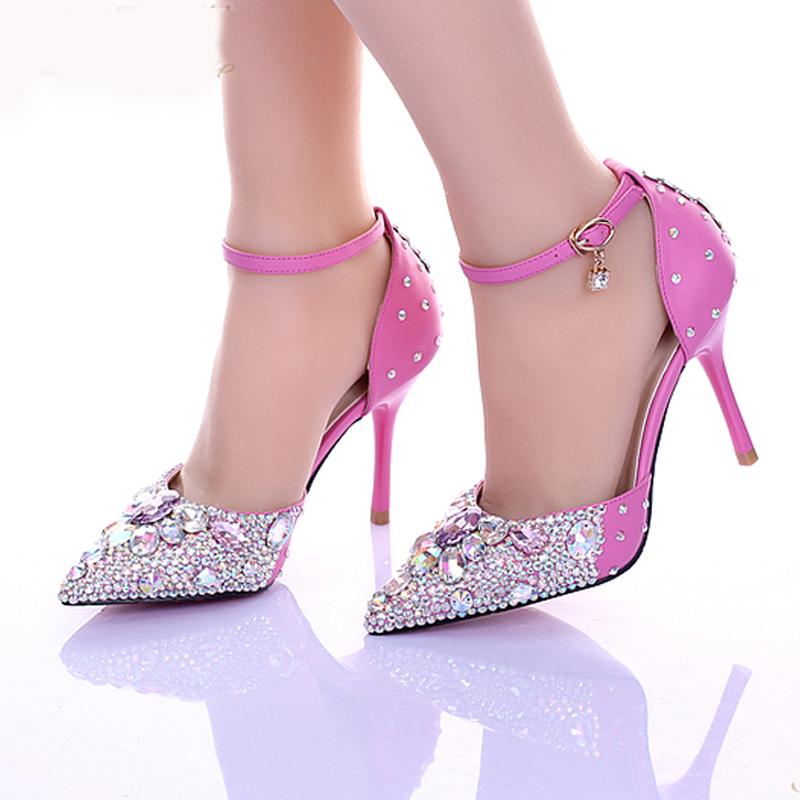 Pink Heels For Wedding: 2015 Luxurious Lady Diamond Wedding Shoes Pink Crystsal