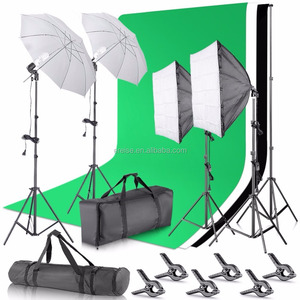 2.6M x 3M/8.5ft x 10ft Background Support System and Umbrellas Softbox Continuous Lighting Kit for Photo Studio