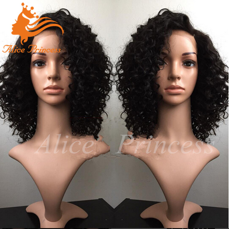 Unprocessed Natural Hair Short Culry Wig For Black Women Glueless Kinky Curly Virgin Malaysian Wig With Baby Hair