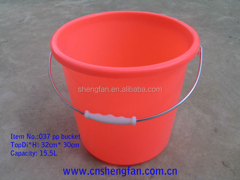 15L plastic bucket cheap with lid handle water bucket