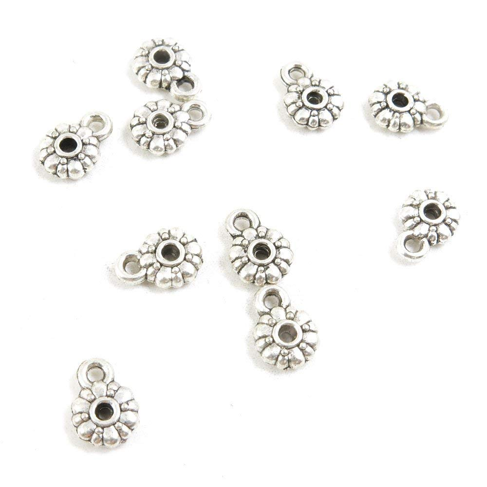 Price per 5 Pieces Antique Silver Tone Jewelry Making Charms Supply X3ZT8 Bails Cord Ends