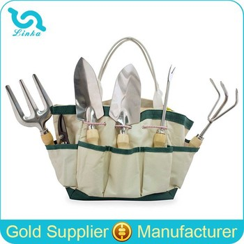 Heavy Duty Polyester Canvas Garden Tool Bag Tote Garden Tool Bag With 7  Pockets