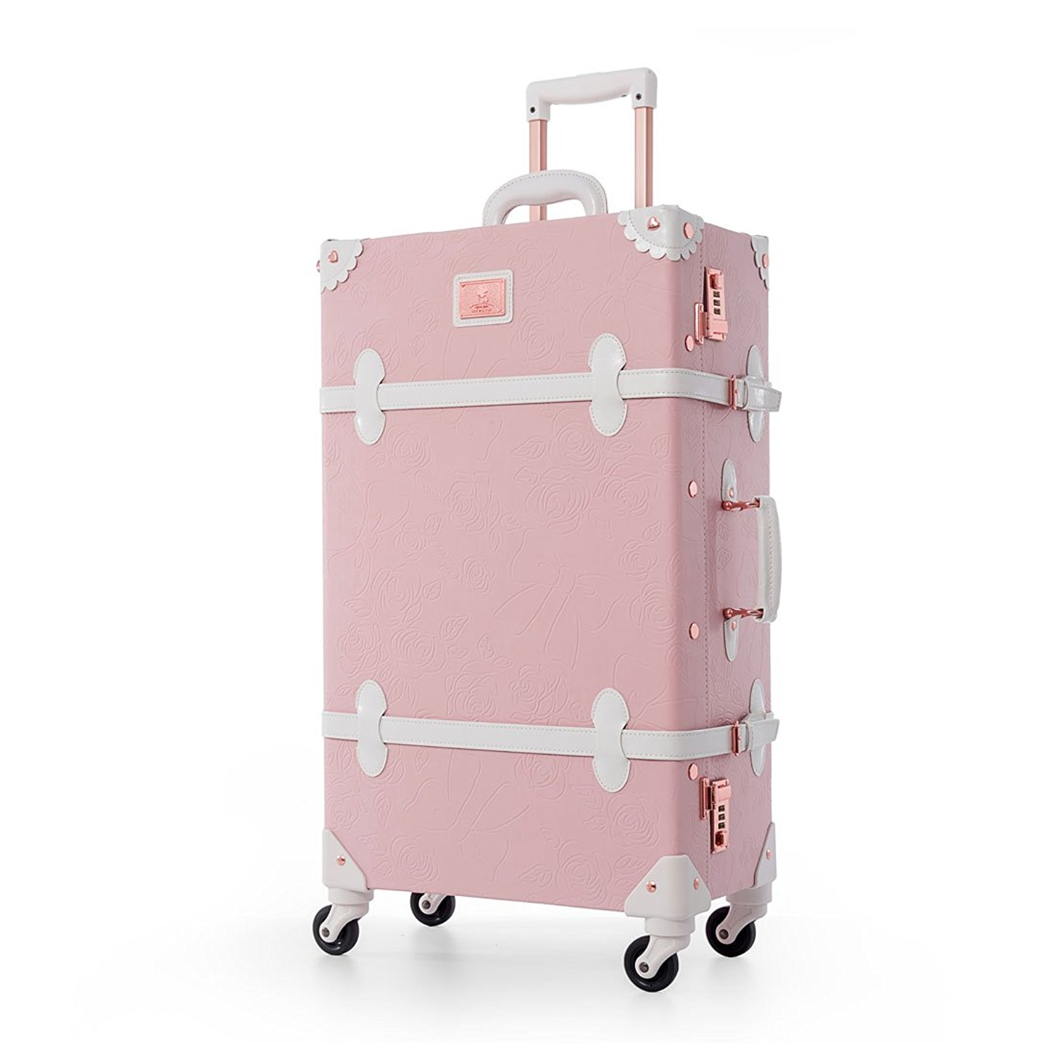 cffbe10a8 Get Quotations · UNIWALKER Women Embossed Floral Rolling Luggage Pu Leather  Suitcase for Girls