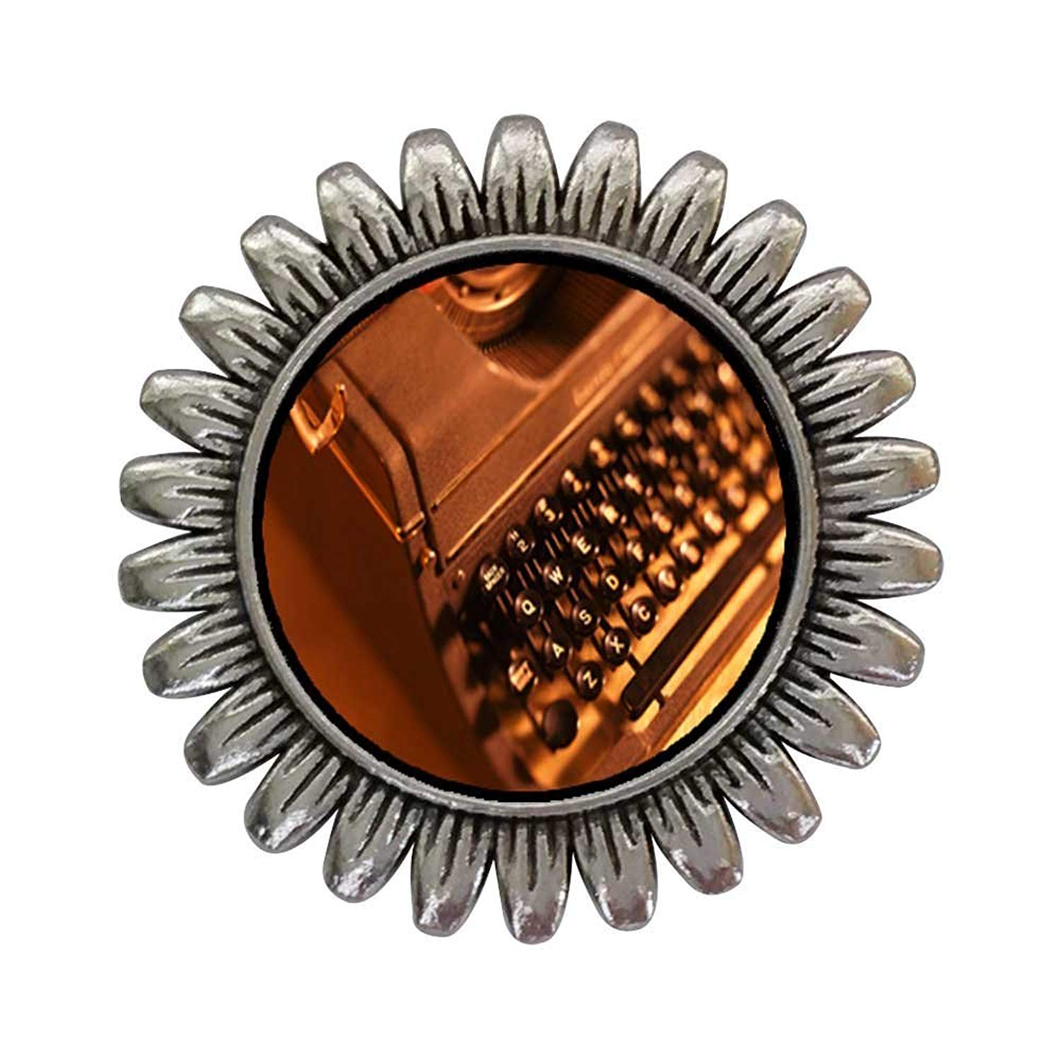 GiftJewelryShop Ancient Style Silver Plate Book Writer's Typewriter Sunflower Pins Brooch