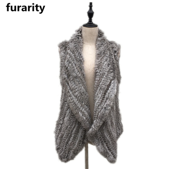 SF0307 1*1 knit top quality Women genuine real rabbit fur vest