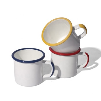 12oz customized color rim and handle enamel mug with sublimation coated
