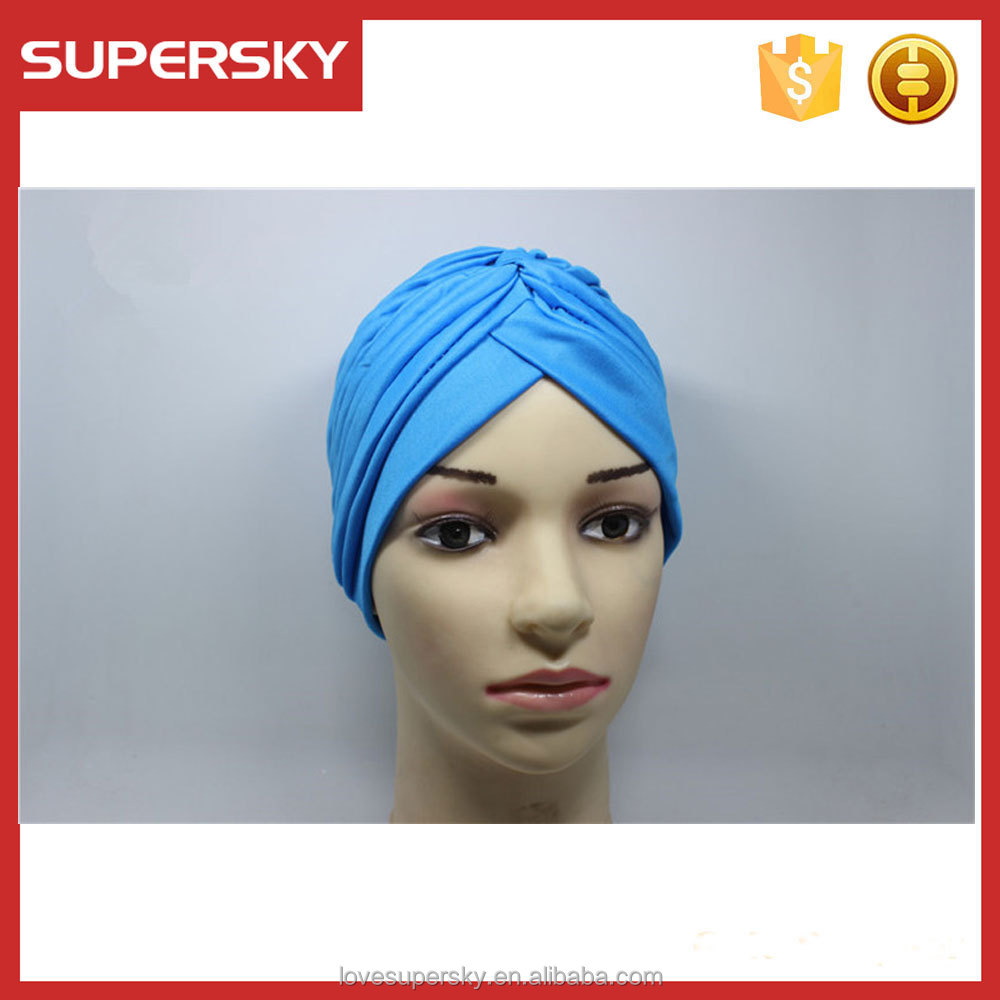 M84 Indian caps lady stretch turban hat Band Chemo Hijab Pleated