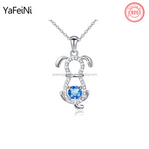 925 Sterling Silver Cz Puppy Cute Dog Necklace Wholesale Lovely Pet Jewelry