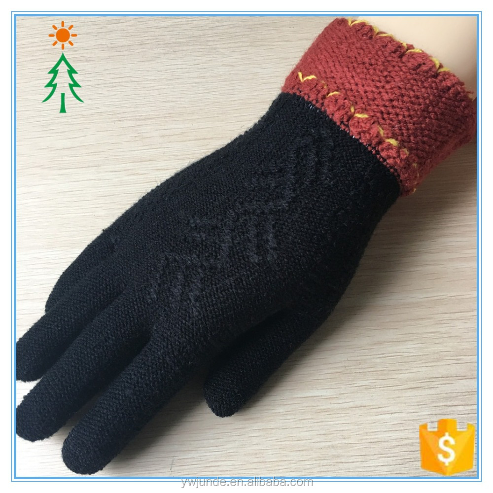 2017 custom knitted jacquard cheap warm winter factory glove for touch screen