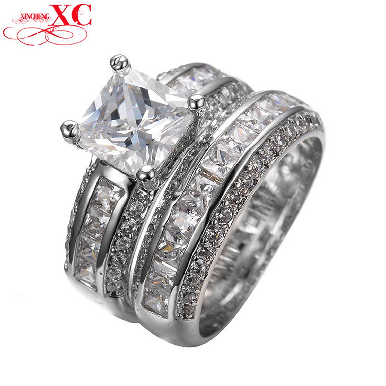 GDSHOP Vintage Princess Cut White Sapphire Jewelry Women Wedding Ring Sets Anel White Gold Filled Engagement Bridal Rings Sz6-10