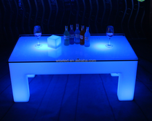 RGB 16 color change LED table,rectangle LED bar table rechargeable wireless LED desk outdoor use
