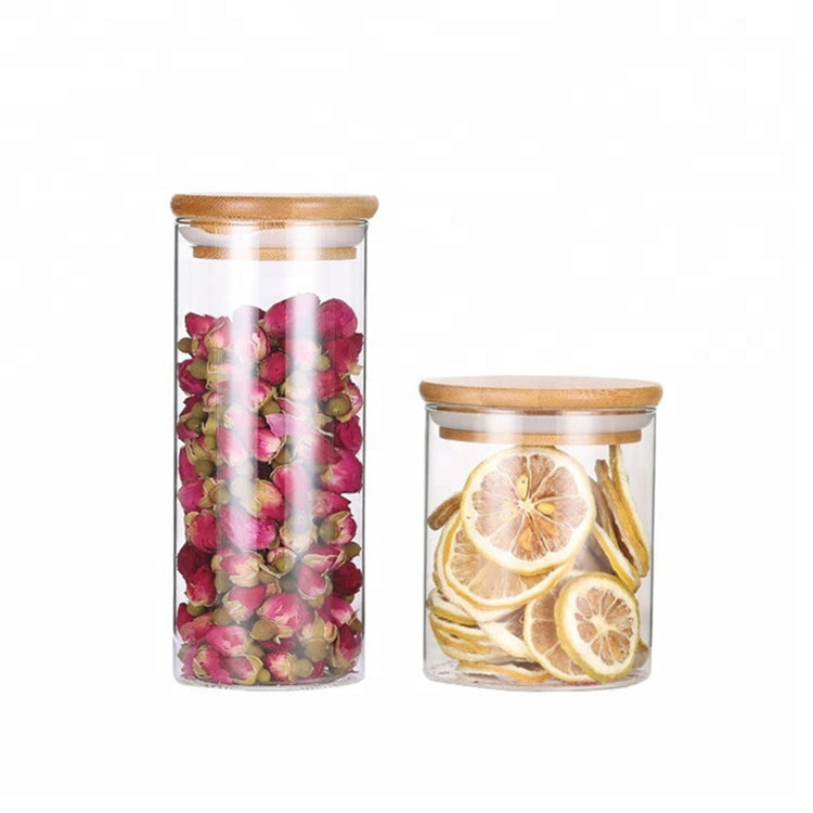 Glass Storage Jars Coffee Bean Kitchen Food Container with Natural High Grade Bamboo Lid and Silicone Seal Ring