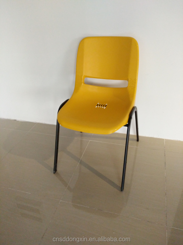 Hot sale yellow stackable plastic chair factory