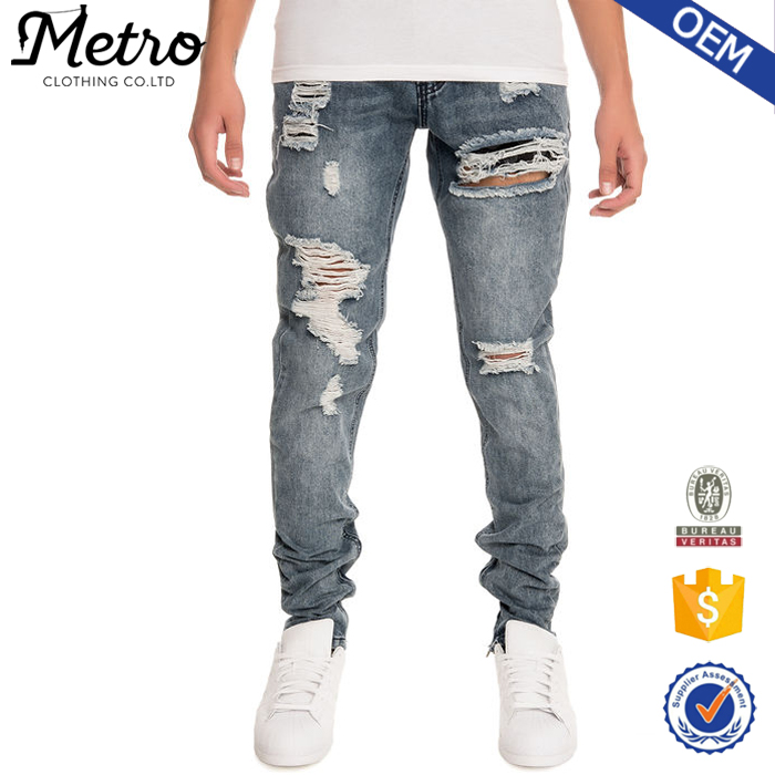 Side Ankle Zippers Medium Wash Young Men Skinny Denim Jeans