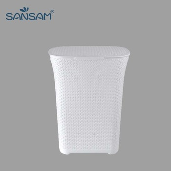 Household Organization Woven Plastic Wicker Basket With Lid
