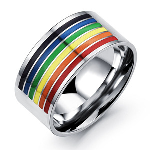 Hot Selling 316 Stainless Steel Gay Pride Jewelry, All Sizes Wedding Band and Mosaic Rainbow Gay Men Ring