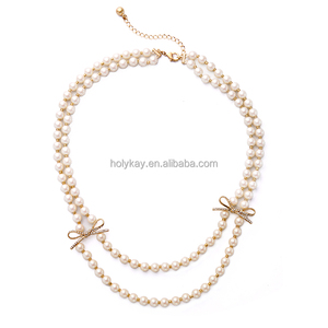 Latest Model Fashion Jewelry Freshwater Pearl Beaded Necklace with Cute Crystal Bow Knot