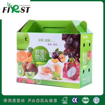 Corrugated Paper Box with handle/ fruit packing box with handle/Corrugated Food Paper Packing Box