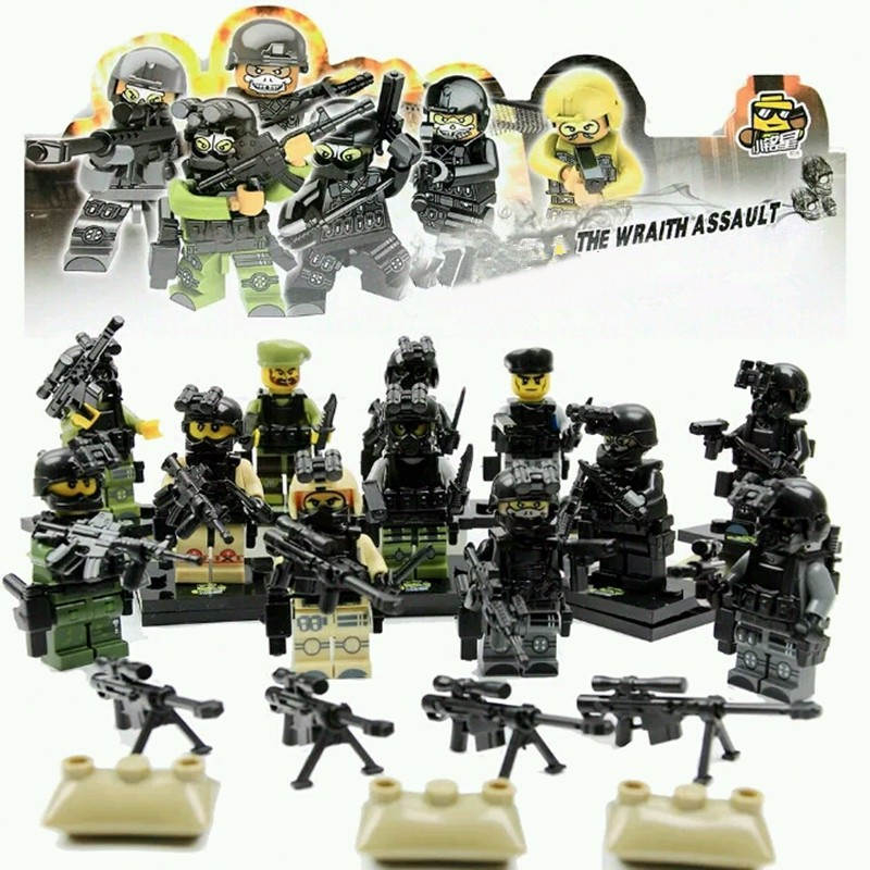 UKLego City 12PCS Police Swat Team Army soldiers toys.