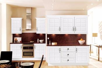 Home Designs UV Door Modular Kitchen Cabinet Solid Wood Furniture  Accessories