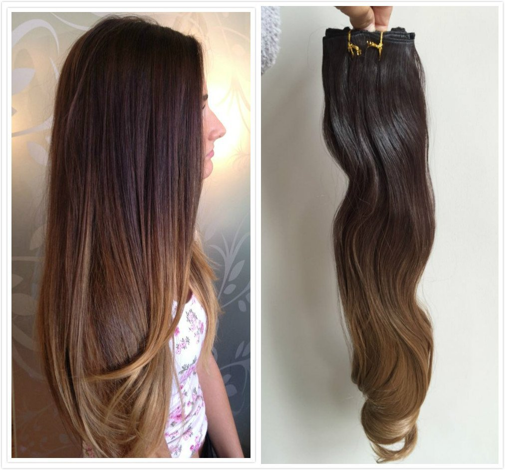 Buy 22inches Full Head Ombre Dip Dyed Straight Clip In Hair