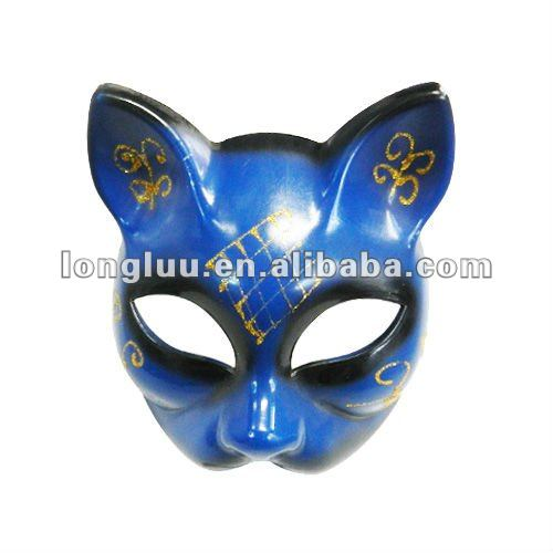 Popular blue plastic cat face carnival mask for masqurade